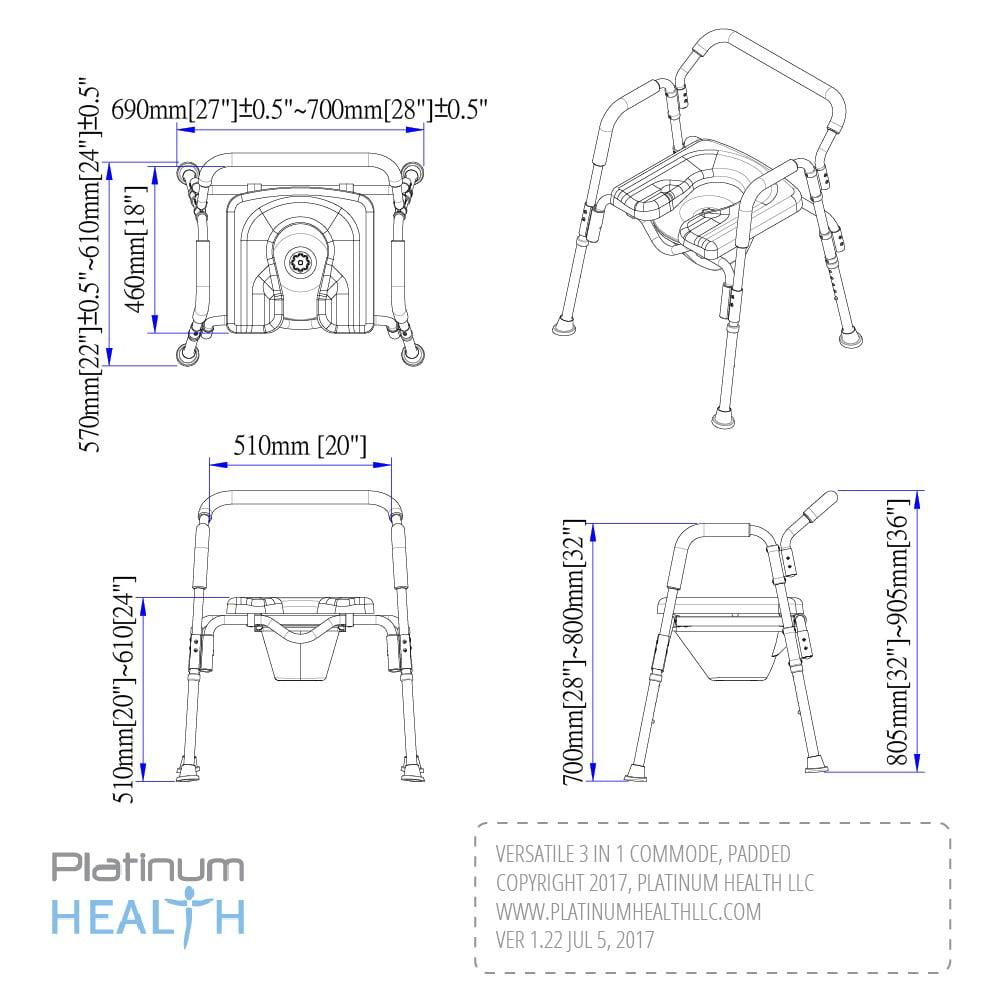 Versatile(tm) 3-in-1 PADDED Toilet / Bath Shower Chair ...