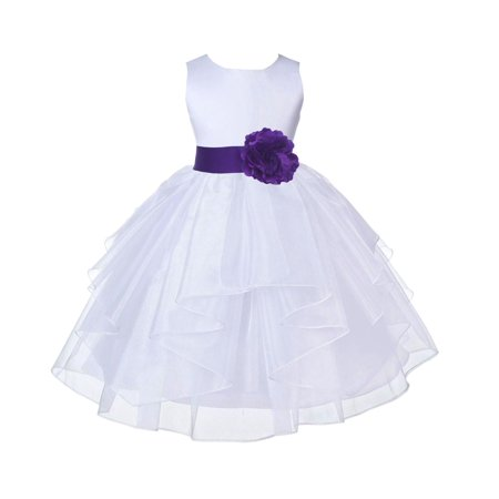 Ekidsbridal White Cadbury Shimmering Organza Christmas Party Bridesmaid Recital Easter Holiday Wedding Pageant Communion Princess Birthday Clothing Baptism 4613S size 6-9 month Flower Girl Dress - Halloween Cadbury