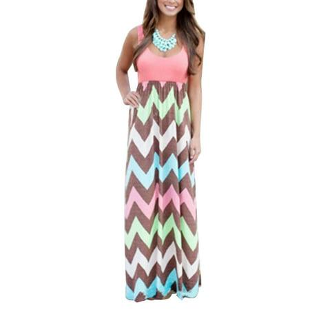 Plus Size Womens Sleeveless Boho Dress Wave Striped Summer Beach Loose  Sundress Party Long Maxi Dresses