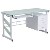 Lancaster Home  White Metal and Glass Pedestal Computer Desk