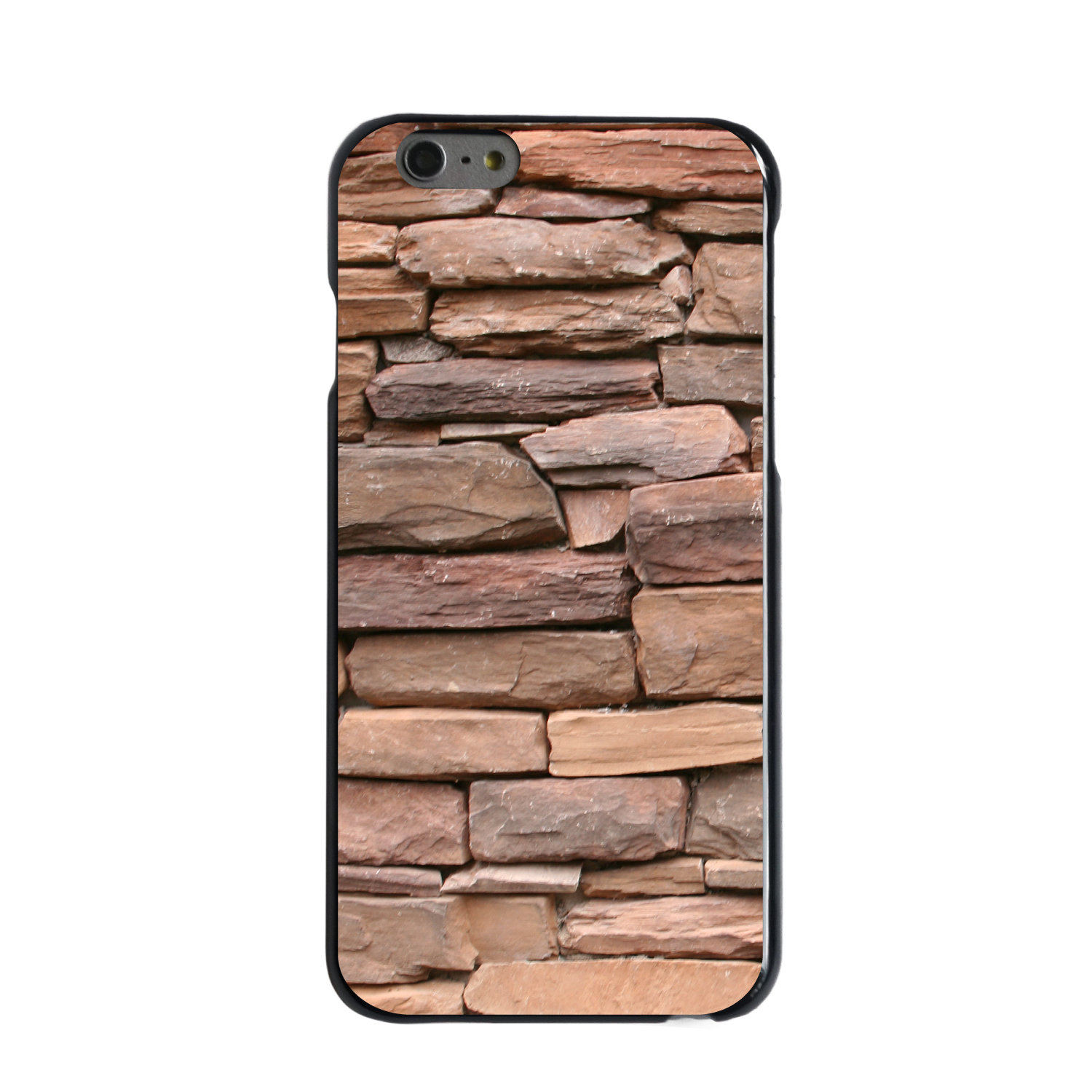 "CUSTOM Black Hard Plastic Snap-On Case for Apple iPhone 6 / 6S (4.7"" Screen) - Stacked Stone Wall"