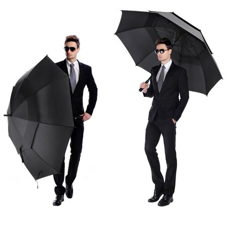 Tbest 62 Inch Automatic Open Golf Umbrella Double Canopy Vented Windproof Extra Large Big Oversize ()