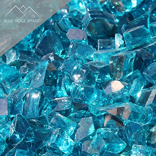 """Fire Pit Glass - Aqua Blue Reflective Fire Glass 1/2"""" - Reflective Fire Pit Glass Rocks - Blue Ridge Brand™ Reflective Glass for Fireplace and Landscaping 3, 5, 10, 20, 50 Pounds"""