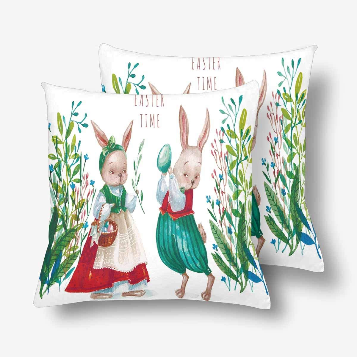 GCKG Easter Bunny Easter Egg Watercolor Animal Pillowcase Throw Pillow Covers 18x18 inches Set of 2 - image 3 of 3