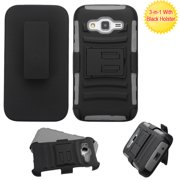 For Galaxy Core Prime, Prevail LTE Black/Gray Armor Stand Case Cover +Holster