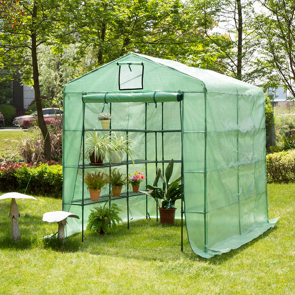 Glitzhome Metal Portable Large Walk-in Garden Plant Greenhouse for Outdoors with Clear Cover, 9 Shelf by GH10012