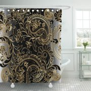 PKNMT Paisleys Floral Royal Elegant Vintage Beautiful Modern 3D Gold Polyester Shower Curtain 60x72 inches