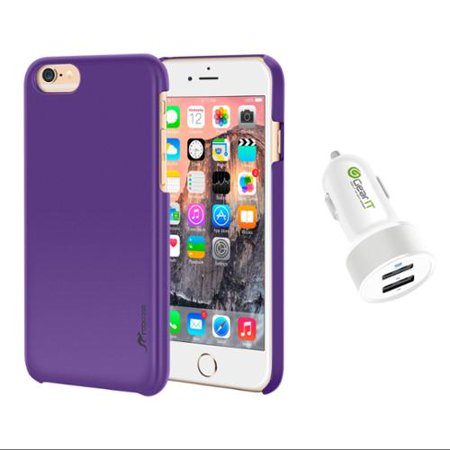 iPhone 6 Plus Case Bundle (Case + Charger), roocase iPhone 6 Plus 5.5 Median Lightweight Case Cover with White 4.4A Car Charger for Apple iPhone 6