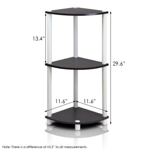 FURINNO 12077EX/WH TurnnTube 3-Tier Corner Display Rack Multipurpose Shelving Unit, Espresso/White
