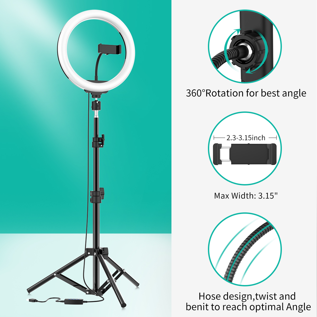 Lomanda 10 Selfie Ring Light with Tripod Stand Ring Light with Cell Phone Holder 3 Light Modes /& 10 Brightness Level Multi-Angle Fill Light for YouTube Video//Photography Compatible