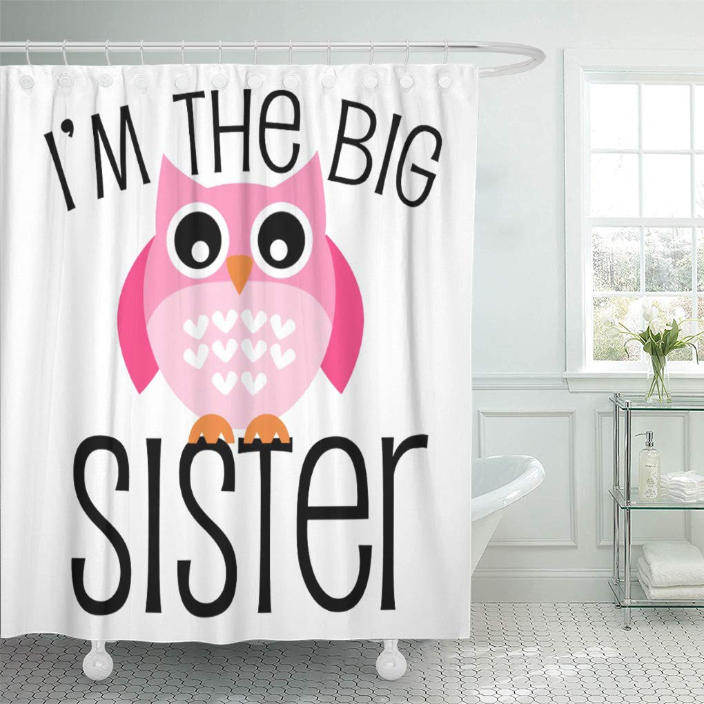YUSDECOR Kids Big Sister Pink Owl Cute Sibling Children Toddler Bathroom  Decor Bath Shower Curtain 10x10 inch
