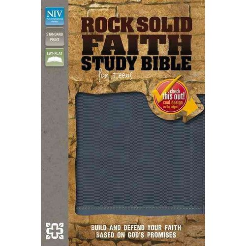 Rock Solid Faith Study Bible for Teens: Build and Defend Your Faith Based on God's Promises: New International Version Slate Blue Italian Duo-Tone