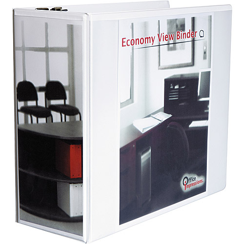 "Office Impressions Economy D-Ring View Binder, 5"" Capacity, White"