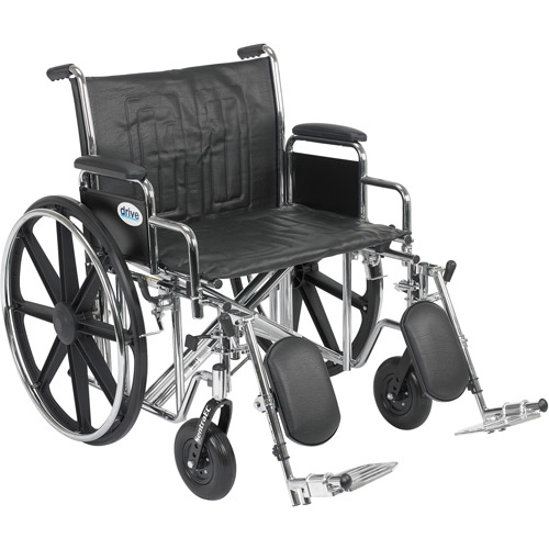 "Drive Medical Sentra EC Heavy Duty Wheelchair, Detachable Desk Arms, Elevating Leg Rests, 24""Seat"