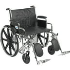 "Drive Medical Sentra EC Heavy Duty Wheelchair, Detachable Desk Arms, Elevating Leg Rests, 24""Seat"