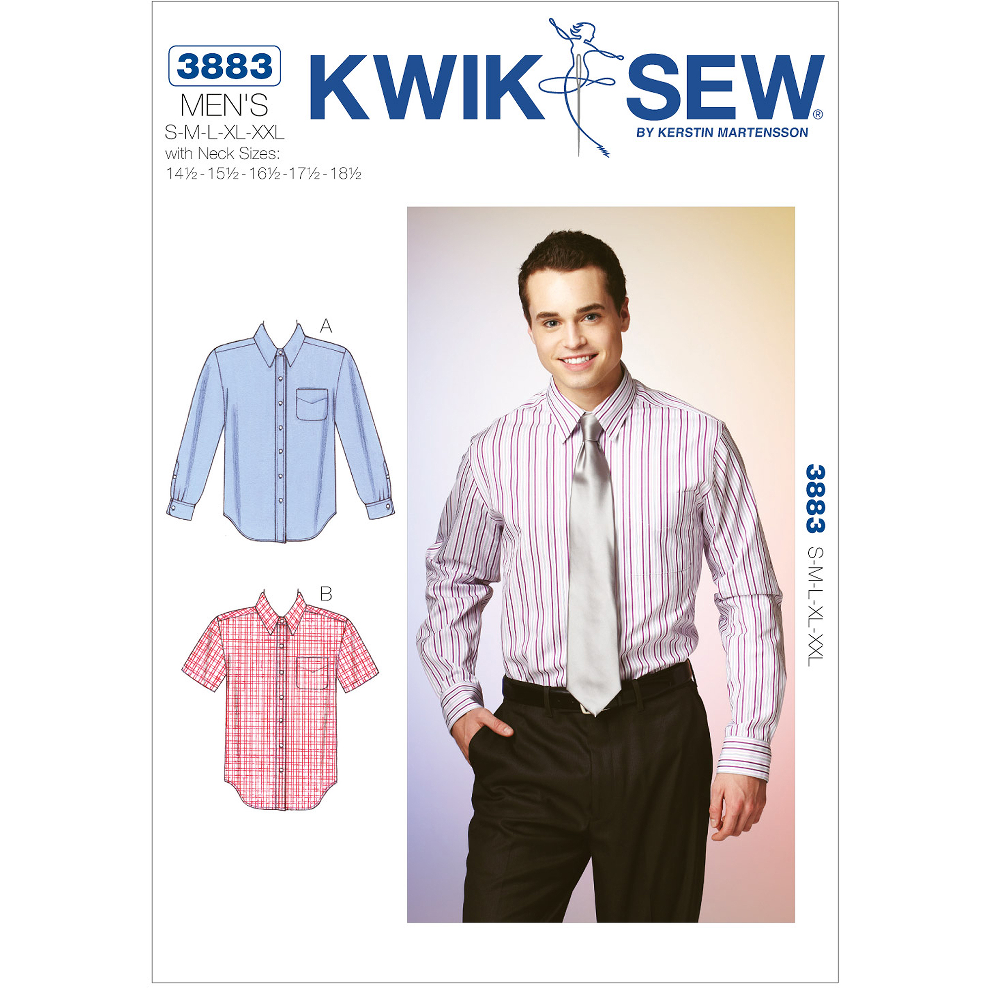 Kwik Sew Pattern Shirts, (S, M, L, XL, XXL) with Neck Sizes (14, 1 and 2, 15)