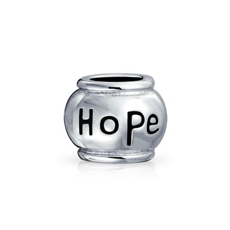 Word Hope Message Inspirational Barrel Charm Bead For Women Teen 925 Sterling Silver Fits European (Hope Message Bead)