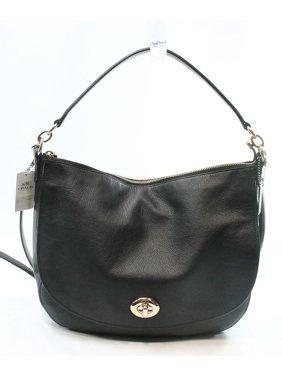 b69849afe250 Product Image Coach NEW Black Gold Women s Hobo Leather Turnlock Handbag  Purse
