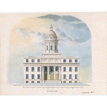 First Merchants Exchange New York  Elevation Of Main Fa  Ade  Poster Print By Alexander Jackson Davis  American New York 1803   1892 West Orange New Jersey   18 X 24