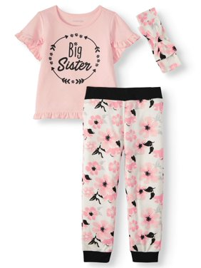 Miniville Baby Girls and Toddler Girls Big Sister T-Shirt, Floral Pants & Headband, 3-Piece Outfit Set