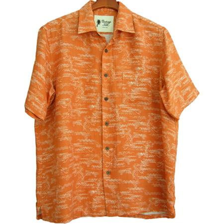 Silk Panel Camp Shirt (Mens Silk & Linen Blend Camp Shirt Hawaiian Koi Fish Tiki Orange)