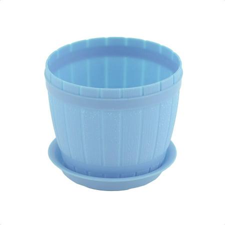 Home Garden Office Hotel Desk Plastic Plant Flower Pot Holder Light Blue w