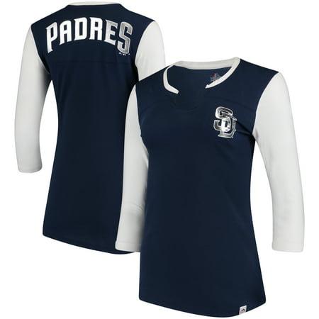 San Diego Padres Majestic Women's Above Average Three-Quarter Sleeve V-Notch T-Shirt - Navy/White - Best San Diego Halloween Party
