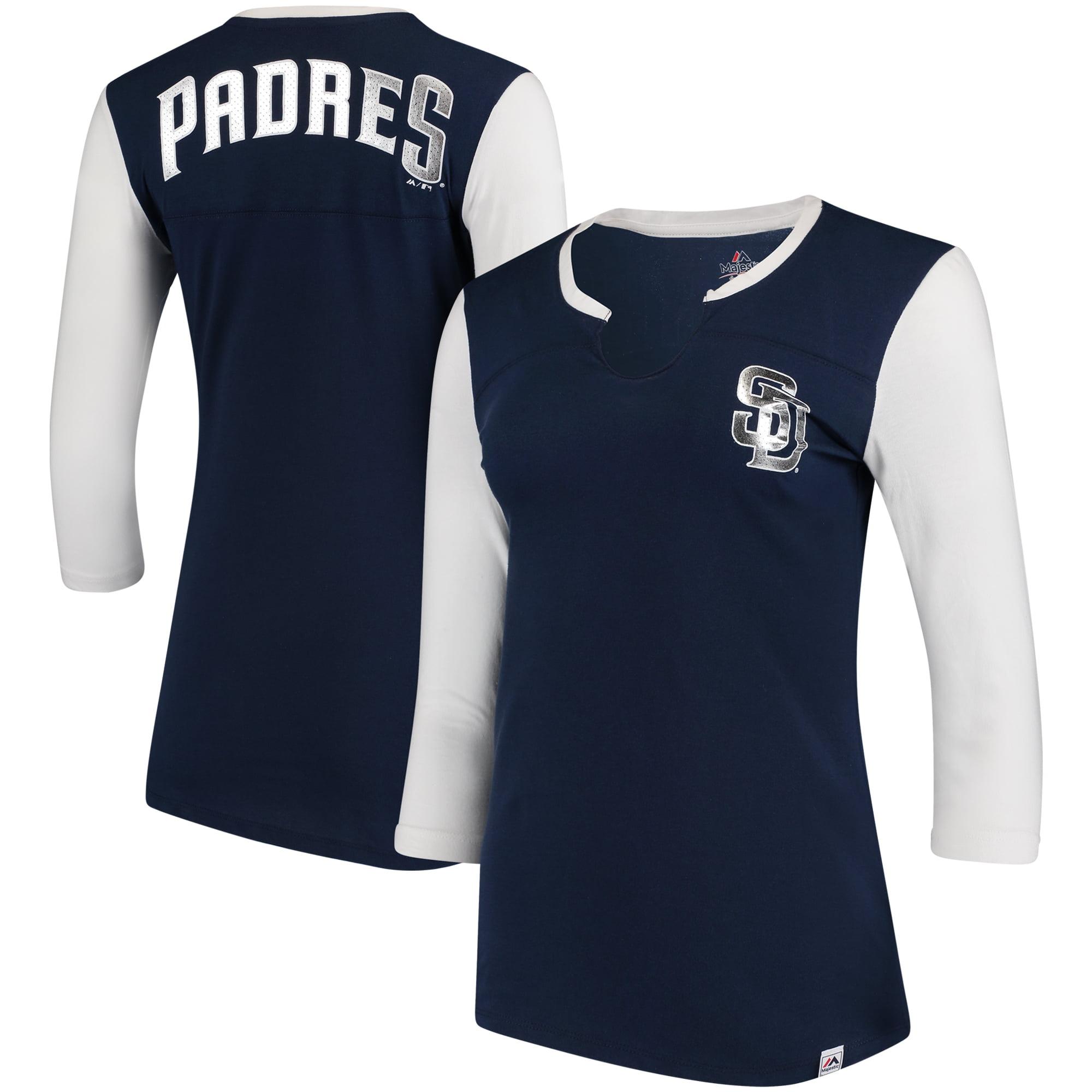 San Diego Padres Majestic Women's Above Average Three-Quarter Sleeve V-Notch T-Shirt - Navy/White