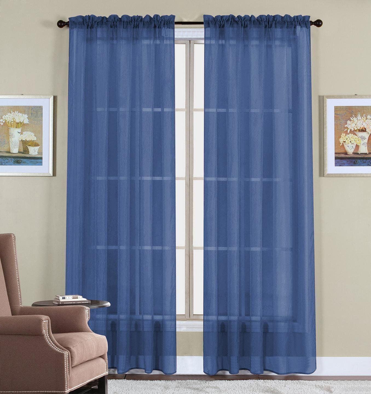 108 Inch Extra Long Voile 54 Wide Window Sheer Curtain Panel Slate Blue Walmart Com Walmart Com