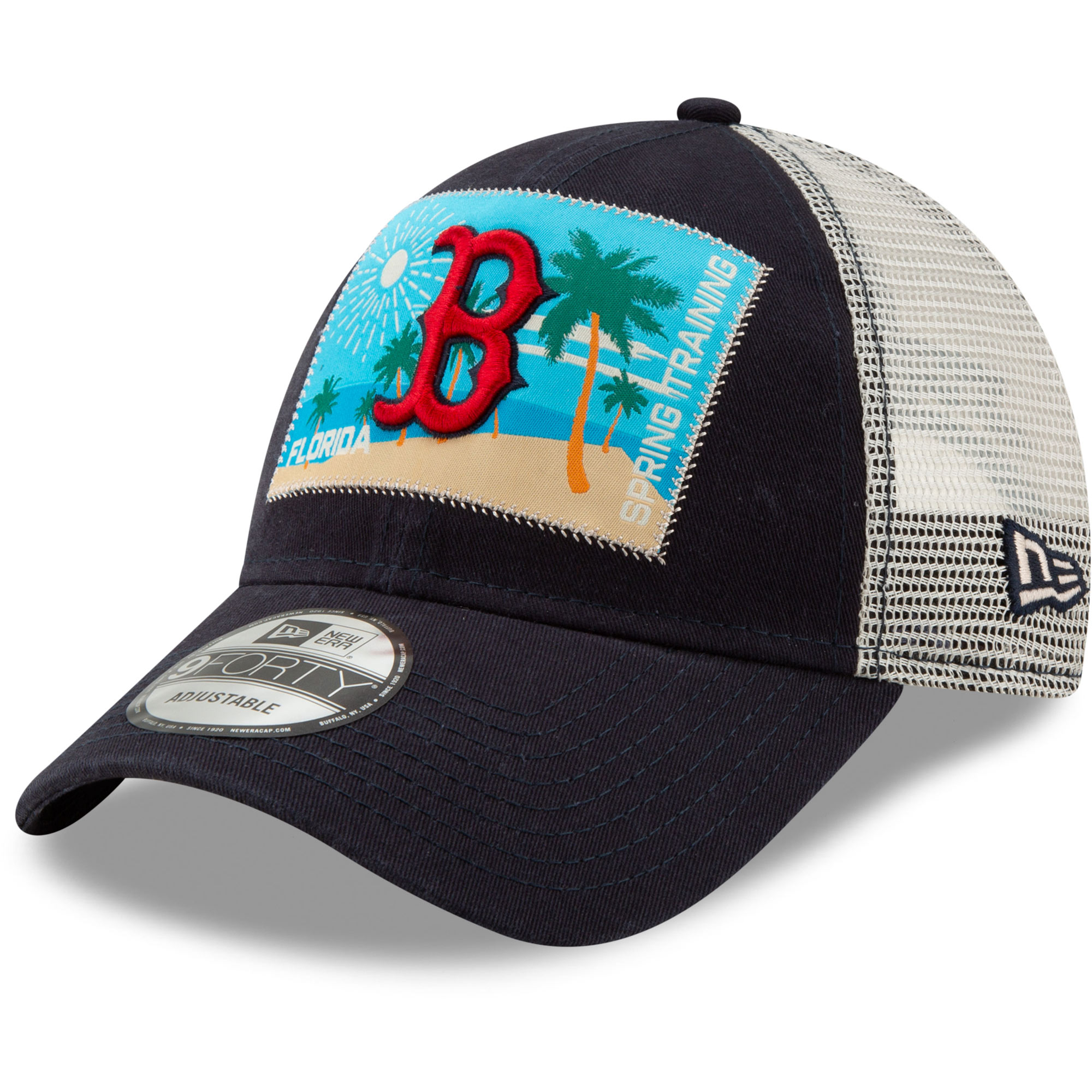 293af10102 Boston Red Sox New Era Patched Trucker 3 9FORTY Adjustable Snapback Hat -  Navy White - OSFA - Walmart.com