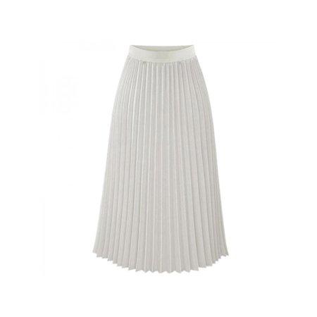 Ropalia Women Chiffon Pleated Long Skirt Elastic Dress Chiffon Side Zip Skirt