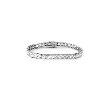 Solid Sterling Silver Rhodium Plated Princess Cut Cubic Zirconia Eternity Tennis Bracelet, (Chain Eternity Bracelet)