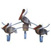 Coastal Whitewashed Pelicans Wooden and Metal Triple Hook Wall Decor