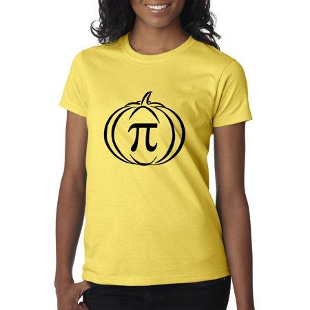 Trendy USA 974 - Women's T-Shirt Pumpkin Pi Pie Math Halloween Funny Humor XL Daisy Yellow - Halloween Usa Promo