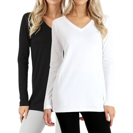 Basic Fit Tee - Women Basic Cotton Loose Fit V-Neck Long Sleeve T-Shirt Top