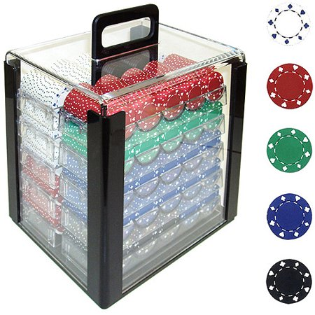 Trademark Poker 1000 11.5 Gram Suited Design Poker Chips in Acrylic Carrier Double Suit Clay Poker Chip