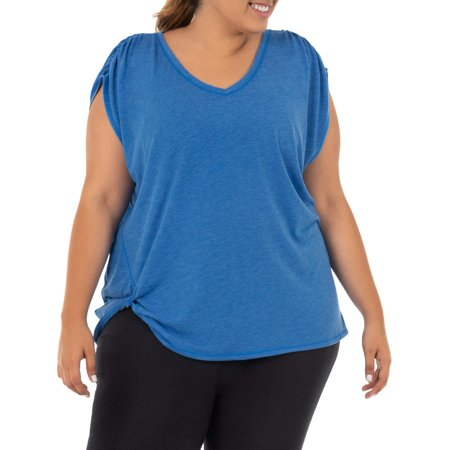 Shirred Knot - Women's Plus Size Active Shirred Sleeve T-shirt with Side Knot