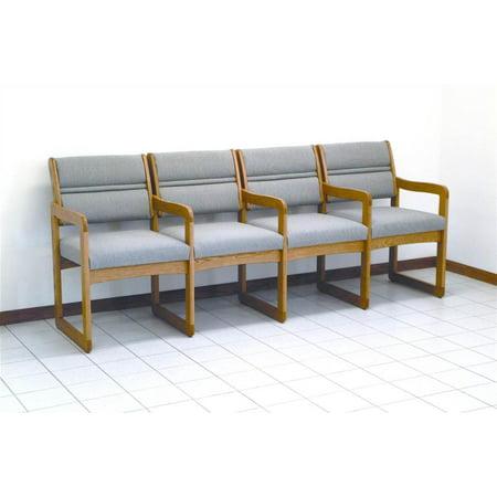 Quad Reception Area Chair in Solid Oak w Sled Base, Medium Finish & Upholstery (Cream Vinyl)