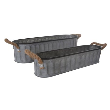 Cheungs 5082-2 Long Oval Metal Storage Bucket with Rope Handle - Set of 2