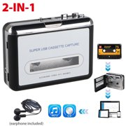 EEEkit Cassette Tape to MP3 CD Converter via USB, Portable Cassette Player Convert Cassette Tape to Digital MP3, Compatible with Laptop, PC, with Earphones