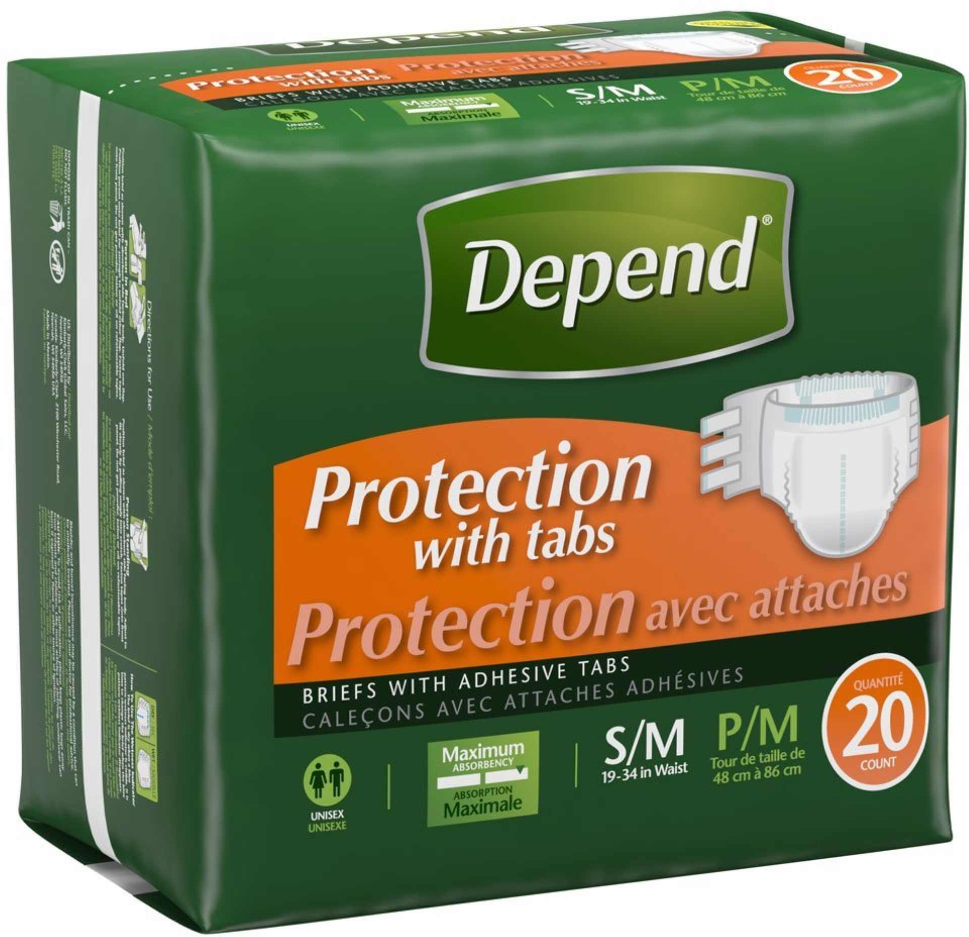 6 Pack - Depend Protection with Tabs Incontinence Underwear, Maximum Absorbency, Small/Medium 20 ea