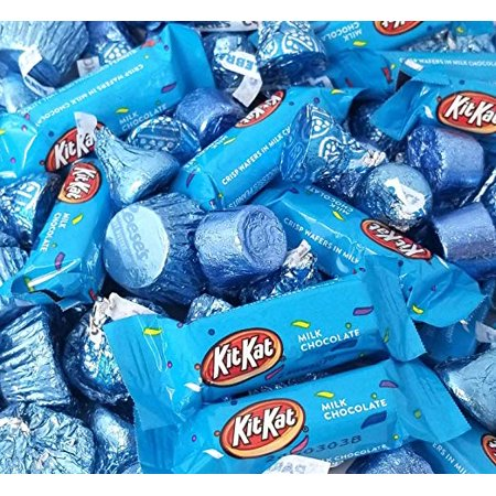 Light Blue Candy Chocolate Assortment - Rolo, Reese's, Kisses, Kit Kat, 3 pounds bag](Halloween Kit Kat)