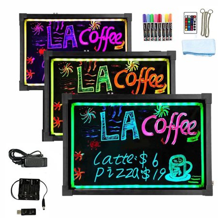 "Hosim LED Message Writing Board, 24"" x 16"" Illuminated Erasable Neon Effect Restaurant Menu Sign with 8 colors Markers, 7 Colors Flashing Mode DIY Message Chalkboard for Kitchen Wedding Promotions"
