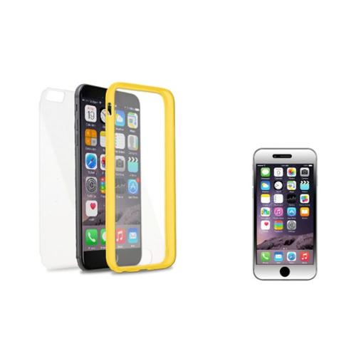 Insten Book TPU Case For Apple iPhone 6s Plus / 6 Plus - Clear/Yellow (with Clear Shatterproof Tempered Glass Protector)