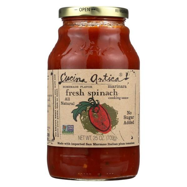 Cucina Antica Fresh Spinach Marinara Cooking Sauce - Pack of 12 - 25 Oz.