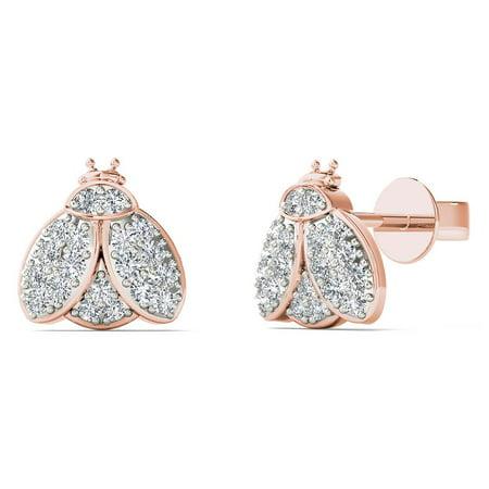 aaXia 10K Rose Gold 1/8ct TDW Diamond Bumble Bee Stud Earrings