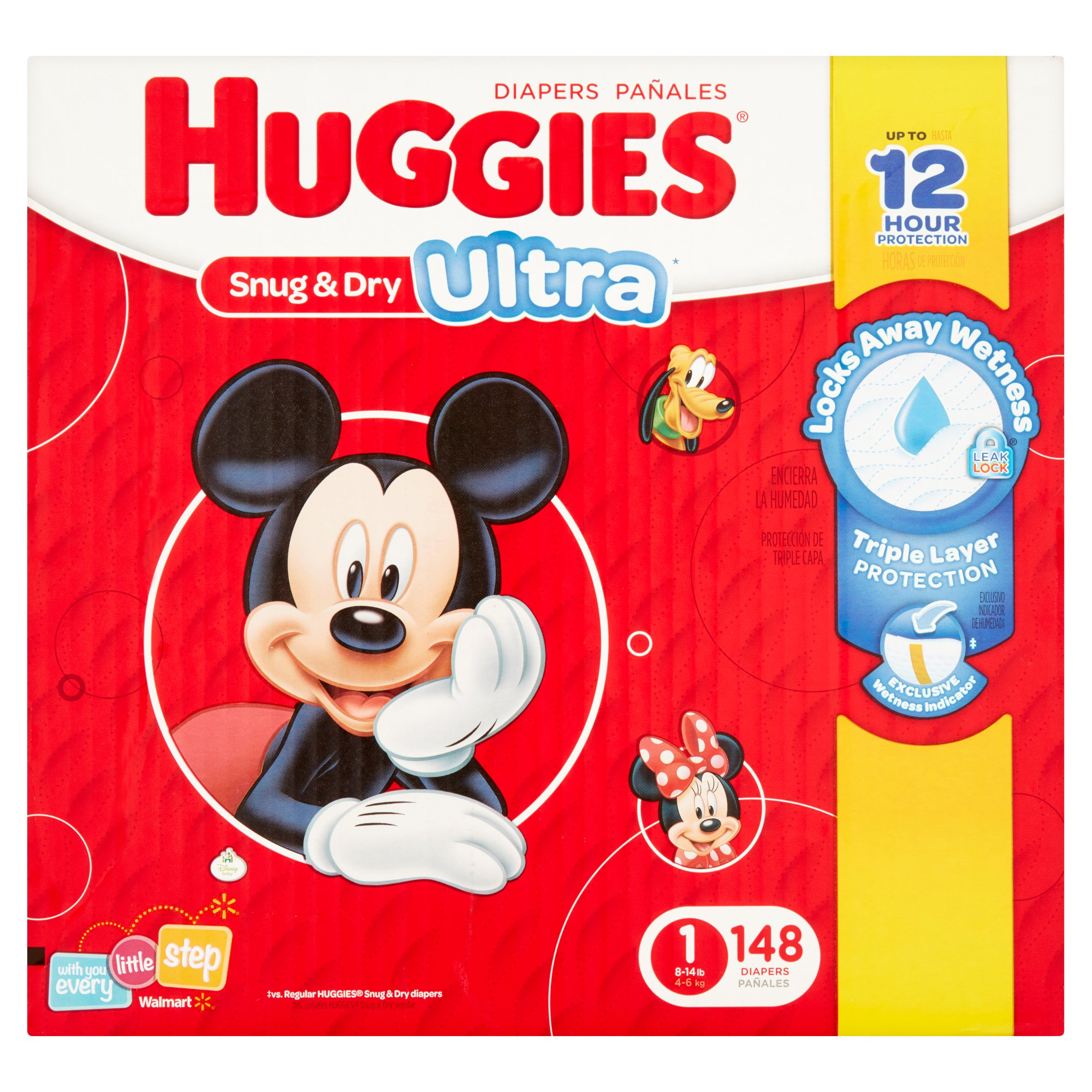 HUGGIES Snug & Dry Ultra Diapers, Size 1, 148 Diapers