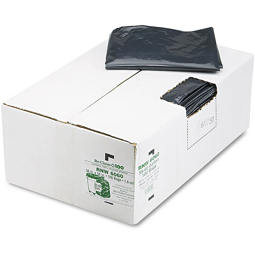 Earthsense Commercial Black Can Liners, 55-60 gal, 100 ct