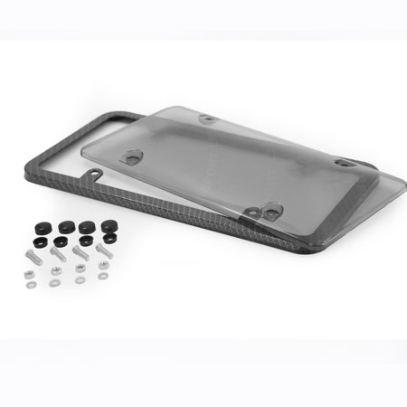 Fit Acura License Plate Frame Carbon Fiber Style Smoke Tag Cover Black Slim JDM For CL Integra Legend MDX NSX RDX RL RSX
