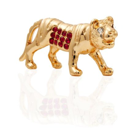24K Gold Plated Yeartiger Horoscope With Red And Clear Cut Crystals
